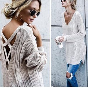 Sweaters - LASTM/L New Cable Knit Sweater w/cross Back Detail